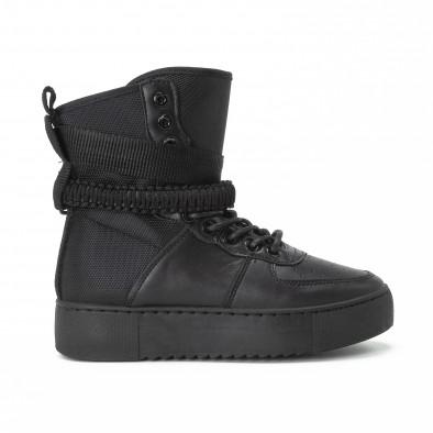 Γυναικεία μαύρα ψηλά sneakers All black με αξεσουάρ it150818-62 2