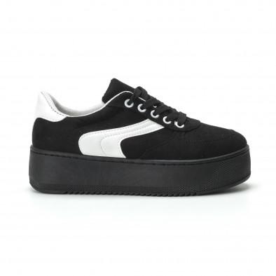 Γυναικεία μαύρα σουέτ sneakers με πλατφόρμα it250119-46 3