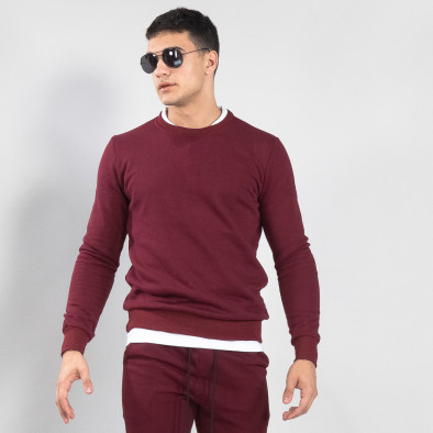 Ανδρική μπορντό βαμβακερή μπλούζα Basic it150419-46 2