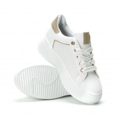 Γυναικεία λευκά sneakers με λεπτομέρειες από χρυσόσκονη it250119-82 4