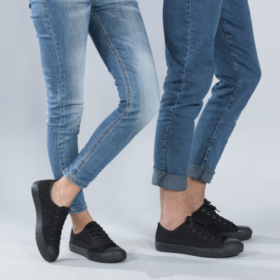 Κλασικά μαύρα sneakers για ζευγάρια cs-black-B340-B338 2