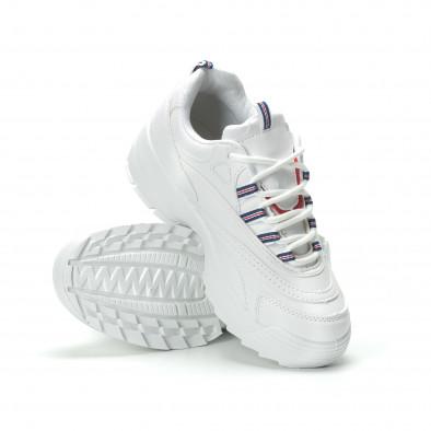 Γυναικεία λευκά sneakers με πλατφόρμα it250119-87 4