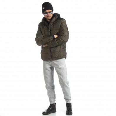 Ανδρικό χειμερινό μπουφάν με κουκούλα σε χρώμα military  it051218-63 5