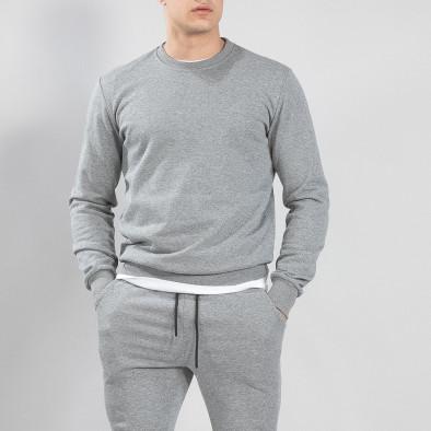 Ανδρική γκρι βαμβακερή μπλούζα Basic it150419-45 2