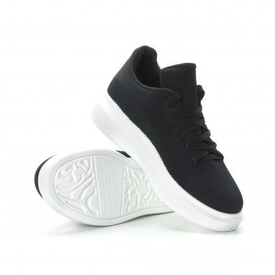 Ανδρικά μαύρα υφασμάτινα sneakers με χοντρή σόλα it270219-3 4
