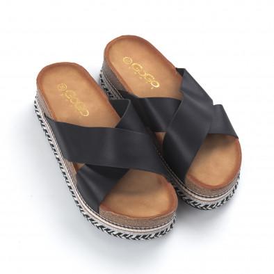 Γυναικείες μαύρες παντόφλες με χιαστί λουριά it050619-87 3
