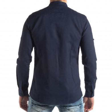 Ανδρικό σκούρο μπλε πουκάμισο από λινό και βαμβάκι it210319-106 4