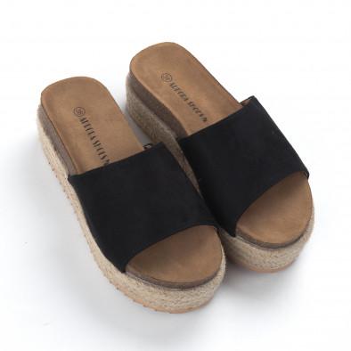 Γυναικείες μαύρες ανατομικές παντόφλες και πλατφόρμα it050619-85 3