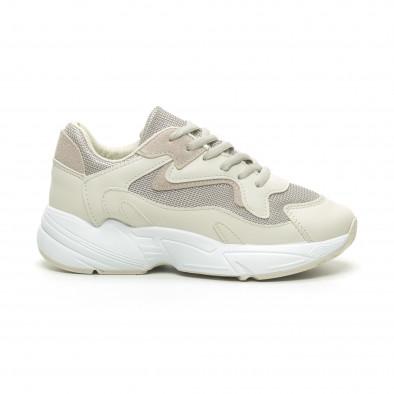 Γυναικεία μπεζ αθλητικά παπούτσια με χοντρή σόλα it230519-16 2