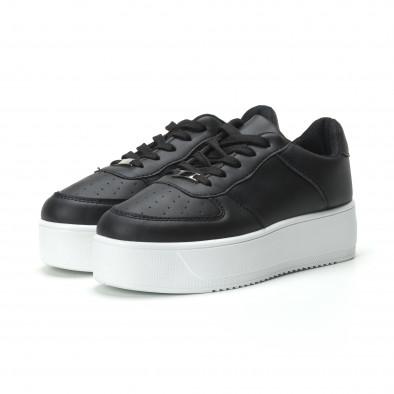 Basic γυναικεία μαύρα sneakers με πλατφόρμα it250119-95 3