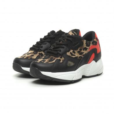 Γυναικεία αθλητικά παπούτσια με κόκκινες και λεοπάρ λεπτομέρειες it230519-20 3