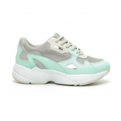 Γυναικεία πράσινα αθλητικά παπούτσια με χοντρή σόλα it230519-18 2
