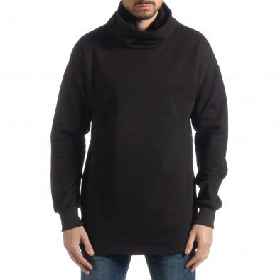 Ανδρική μαύρη μπλούζα με γιακά Oversized it051218-42 2