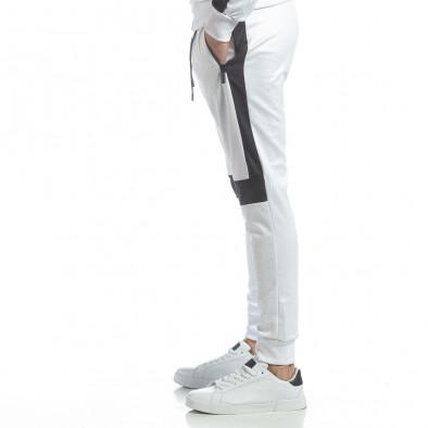 Ανδρική λευκή φόρμα με μαύρες ρίγες it040219-75 2