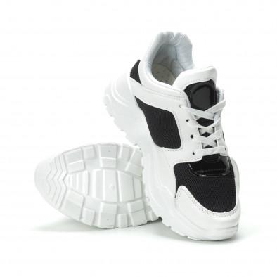 Γυναικεία ασπρόμαυρα sneakers με πλατφόρμα it250119-67 4