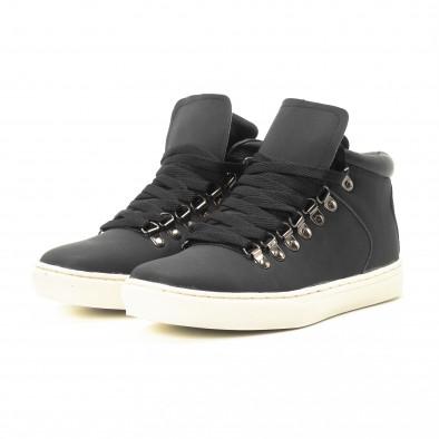 Ανδρικά μαύρα ψηλά sneakers με κορδόνια it301118-11 3