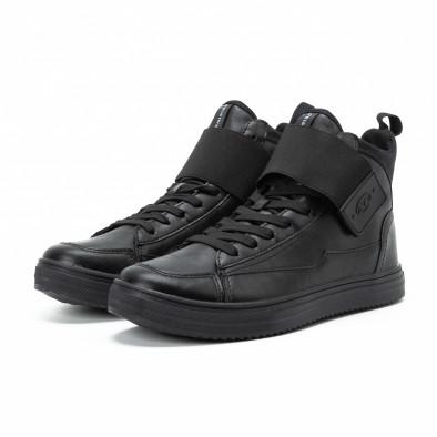 Ανδρικά μαύρα sneakers με αυτοκόλλητο it140918-8 3