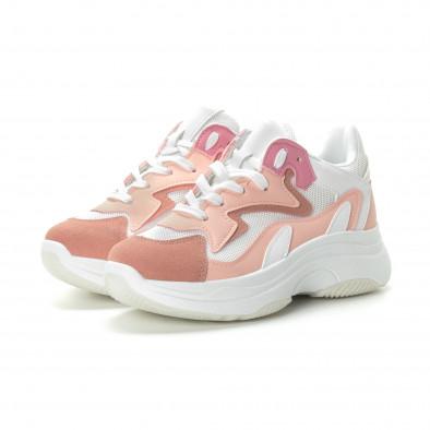 Γυναικεία ροζ αθλητικά παπούτσια με χοντρή σόλα it270219-5 3