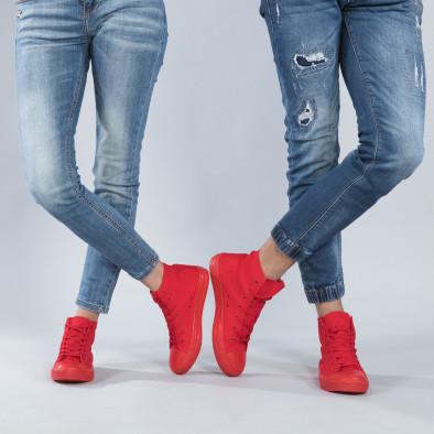 Ψηλά κόκκινα sneakers για ζευγάρια cs-red-B341-B339 2