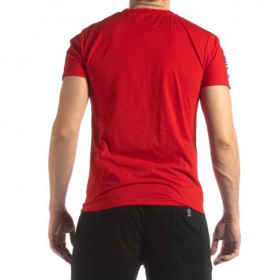 Ανδρική κόκκινη κοντομάνικη μπλούζα με λογότυπο it210319-83 4