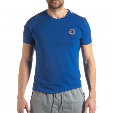 Ανδρική μπλε κοντομάνικη μπλούζα με λογότυπο it210319-84 3