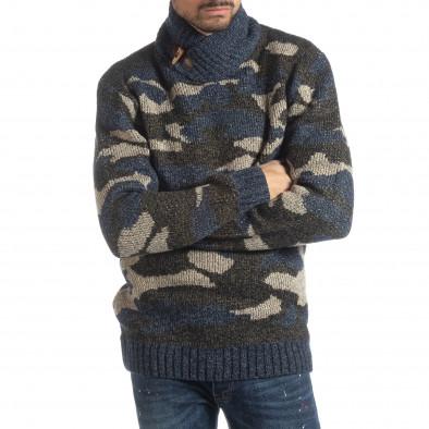 Ανδρικό μπλε πουλόβερ παραλλαγής με γιακά  it051218-51 2