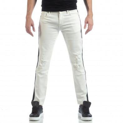 Ανδρικό λευκό τζιν με μαύρες ρίγες it040219-26 3