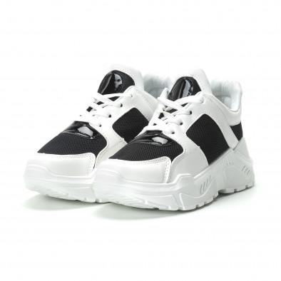 Γυναικεία ασπρόμαυρα sneakers με πλατφόρμα it250119-67 3