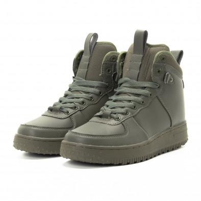 Ανδρικά ψηλά χακί sneakers με τρακτερωτή σόλα it301118-9 3