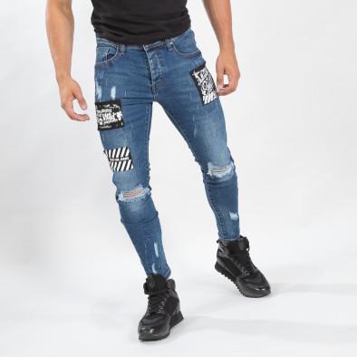 Ανδρικό γαλάζιο τζιν με σκισίματα και μπαλώματα it170819-48 3
