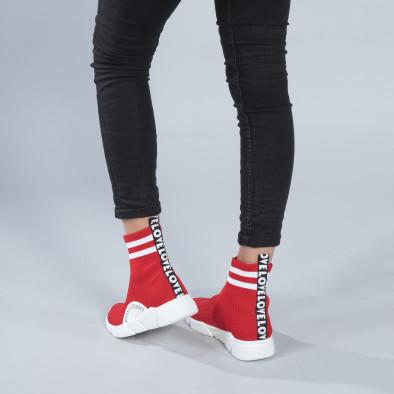 Γυναικεία κόκκινα ψηλά sneakers καλτσάκι it250119-58 2
