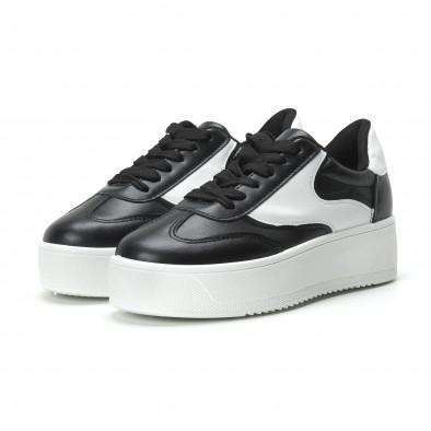 Γυναικεία μαύρα sneakers με πλατφόρμα κλασικό μοντέλο it250119-98 3