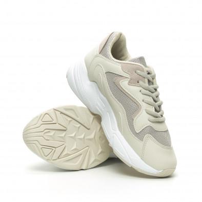Γυναικεία μπεζ αθλητικά παπούτσια με χοντρή σόλα it230519-16 4