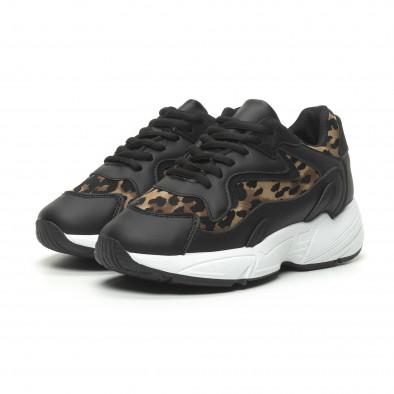 Γυναικεία μαύρα αθλητικά παπούτσια με λεοπάρ λεπτομέρειες it230519-17 3