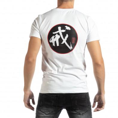Ανδρική λευκή κοντομάνικη μπλούζα με ανατολίτικο μοτίβο it261018-118 3