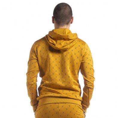 Ανδρική κίτρινη ζακέτα με διακοσμητικές λεπτομέρειες it040219-112 4