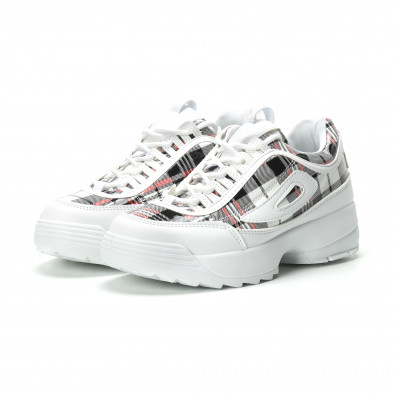 Γυναικεία λευκά καρέ sneakers με Chunky πλατφόρμα it250119-53 3