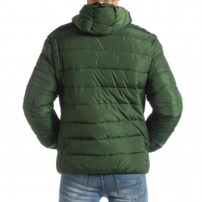 Ανδρικό πράσινο χειμερινό μπουφάν με μαύρες λεπτομέρειες it051218-65 4