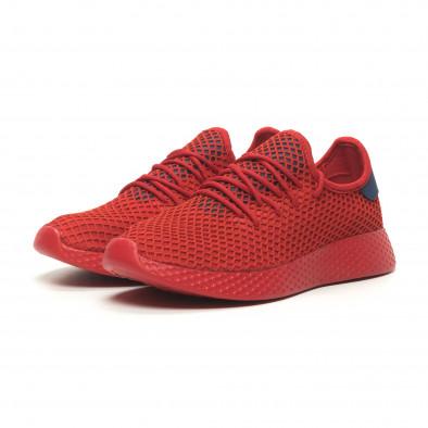 Ανδρικά κόκκινα αθλητικά παπούτσια Mesh με μπλε λεπτομέρειες it230519-8 3