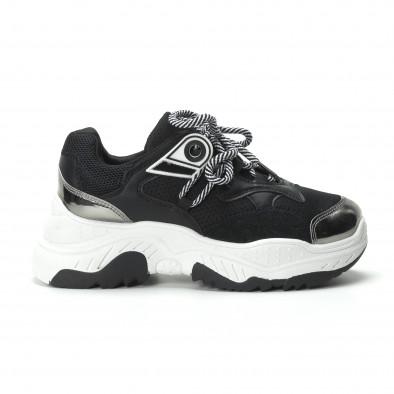 Γυναικεία ασπρόμαυρα sneakers με πλατφόρμα it250119-34 3