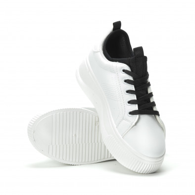 Γυναικεία λευκά sneakers με διακοσμητικό καλτσάκι it250119-85 4