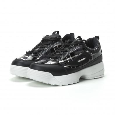 Γυναικεία μαύρα καρέ sneakers με Chunky πλατφόρμα it250119-54 3