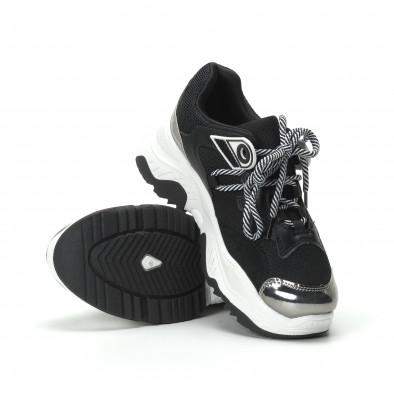 Γυναικεία ασπρόμαυρα sneakers με πλατφόρμα it250119-34 5