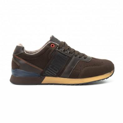 Ανδρικά καφέ αθλητικά παπούτσια από συνδυασμό υφασμάτων it140918-6 2