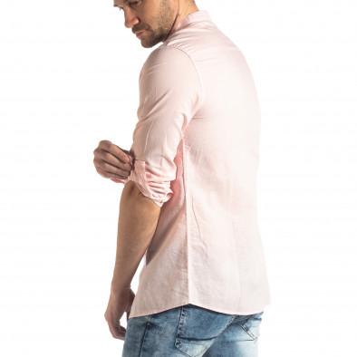 Ανδρικό ροζ πουκάμισο από λινό και βαμβάκι it210319-104 4