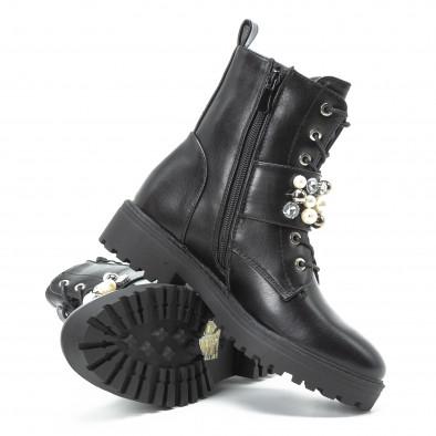 Γυναικεία μαύρα μποτάκια με πέρλες και διακοσμητικές πέτρες it140918-61 4