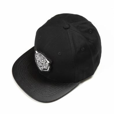 Μαύρο καπέλο με λευκή στάμπα it290818-7 2