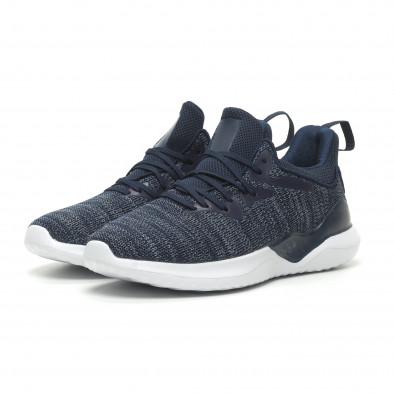 Ανδρικά μπλε μελάνζ αθλητικά παπούτσια πλεκτό μοντέλο it230519-4 3