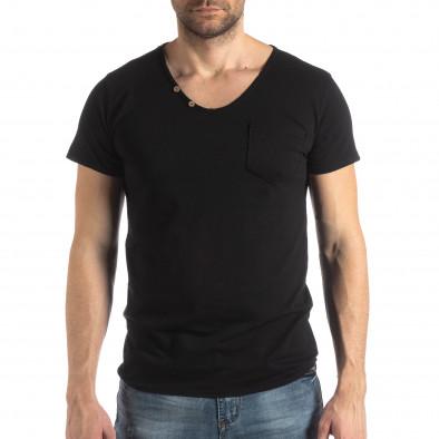 Ανδρική μαύρη κοντομάνικη μπλούζα Vintage στυλ it210319-78 2