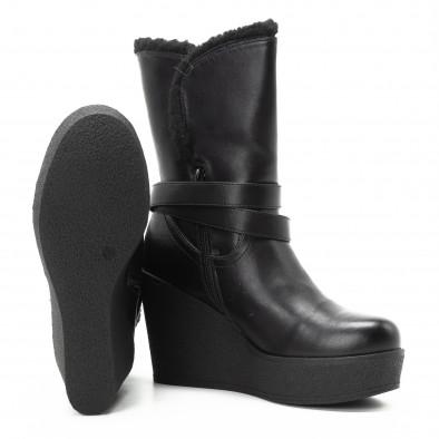 Γυναικεία μαύρα μποτάκια με πλατφορμά και διακοσμητική ζώνη  it301118-21 4